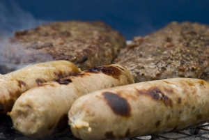 barbecue sausages and burgers